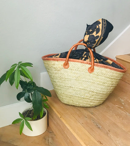 Woven Beach Tote with Forest Green Fabric Lining
