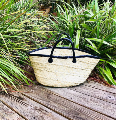 Natural Straw Tote with Black Leather Handles