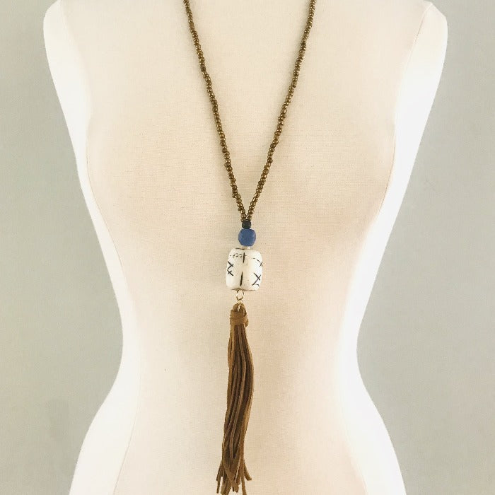 Brown Suede Tassel with White Bone Necklace