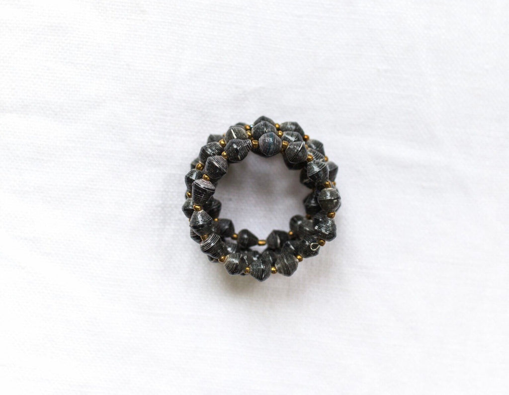 Paper Bead Chunky Wrap in Charcoal