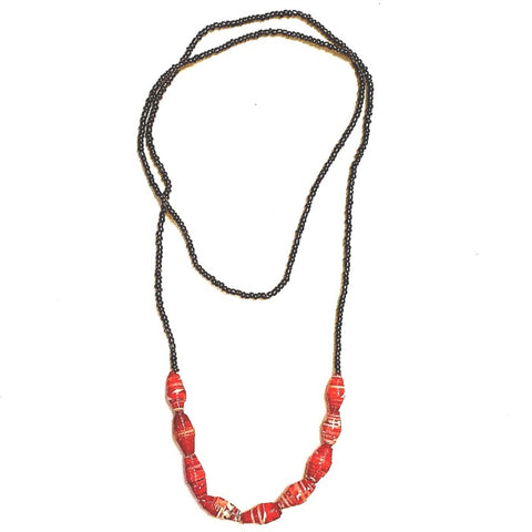 Zanzibar 9-Drop Paper Bead Necklace