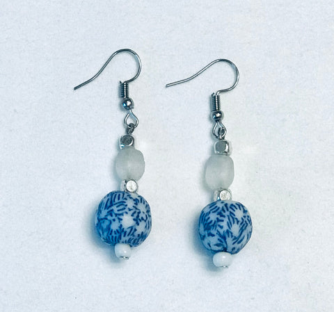 Blue Floral & Clear  Glass Earrings
