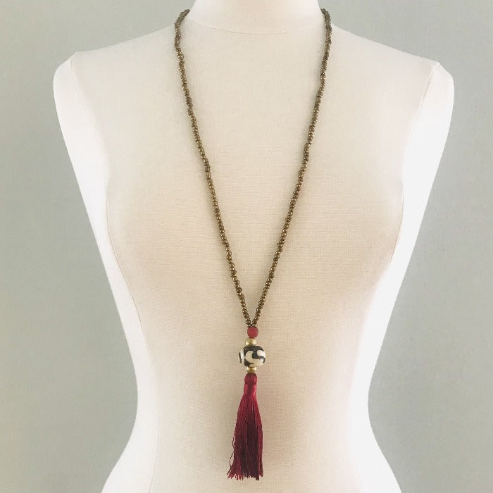 Cranberry Tassel Ethnic Necklace