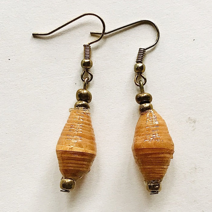 Mustard Paper Bead Multi Tones Earrings