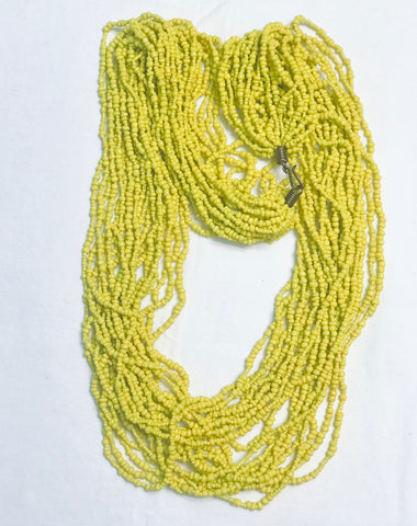 Ethnic Maasai Style Strands Necklace - Yellow