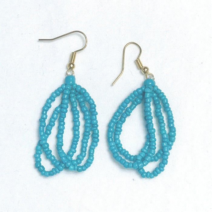 Ethnic Maasai Strands Earrings - Dark Turquoise