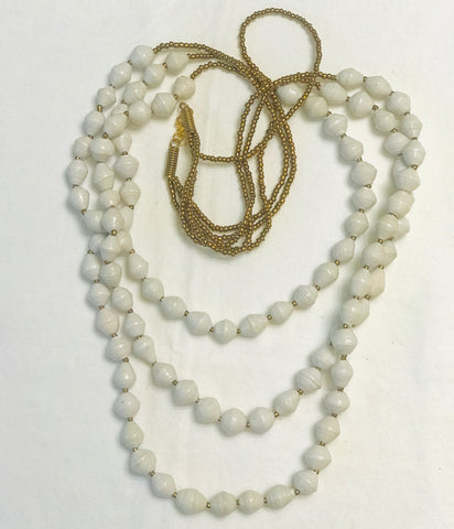 Paper Bead Triple Strand Necklace - White