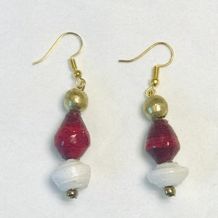 Paper Bead Earrings-Cranberry and White