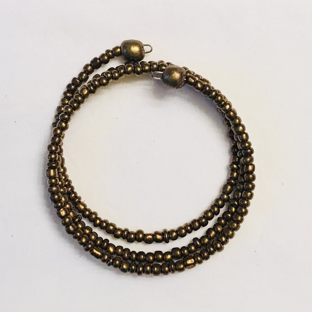 Gold Beaded Coiled Wrap Bracelet