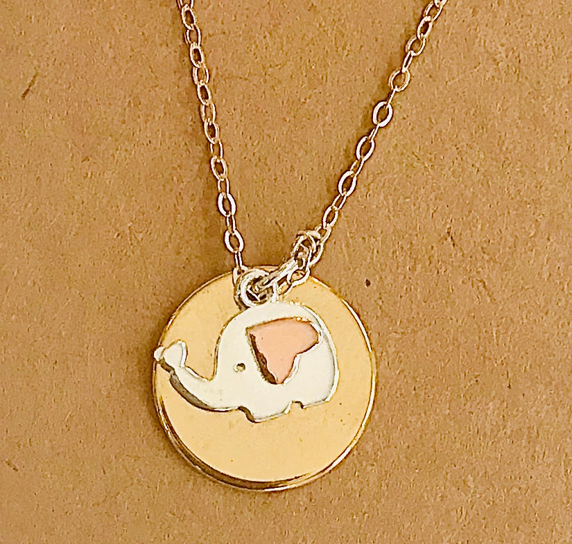 Silver Elephant on Gold Disc Necklace