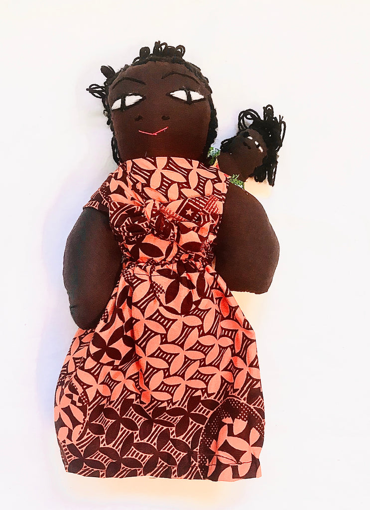 Kenyan Mama with Baby - Orange Kanga Fabric