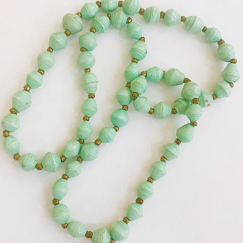 Sea Foam Paper Bead Short Necklace