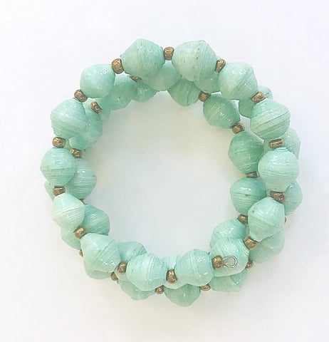 Sea Foam Paper Bead Bracelet