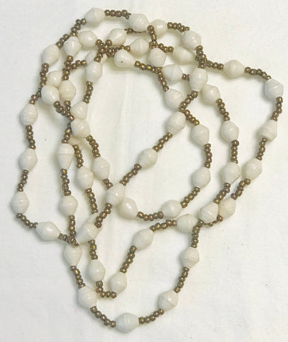 Paper Bead Necklace - White w/Gold Seed Beads