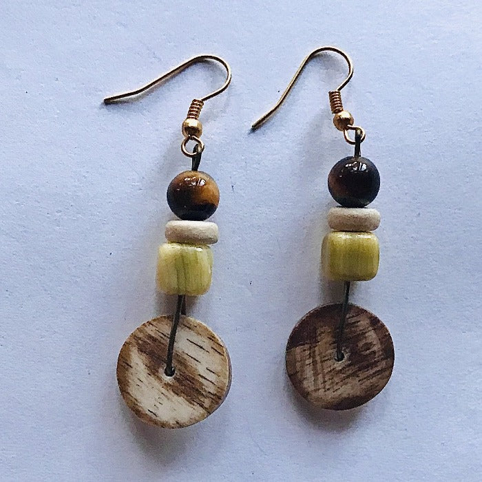 Tiger's Eye/Coconut Ethnic Earrings