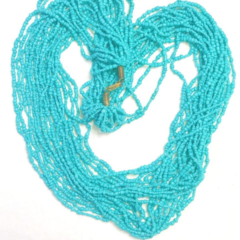 Ethnic Maasai Strands Necklace - Lite Turquoise