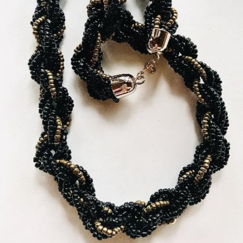 Black/Gold Braided Necklace