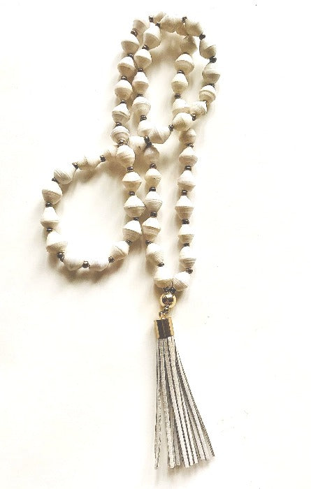 White Paper Bead/Grey Leather Tassel Necklace