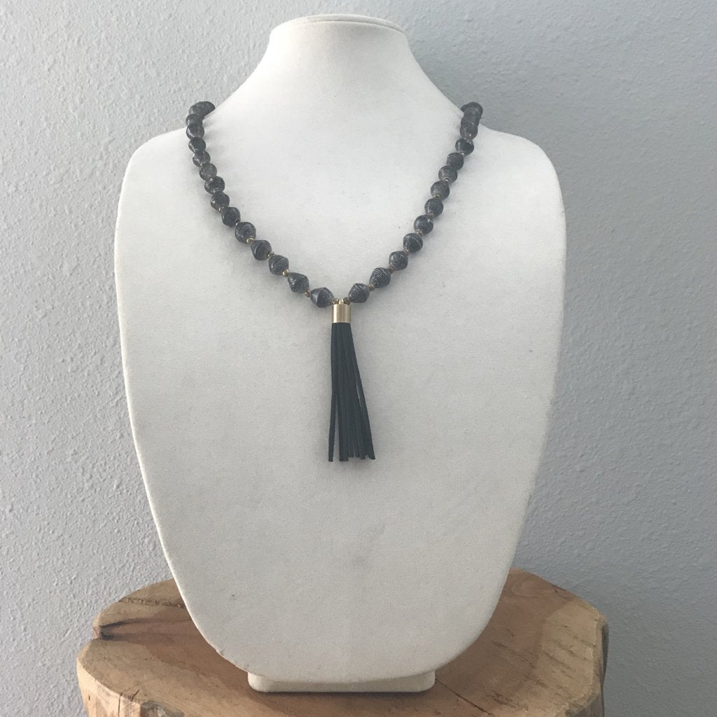 Charcoal Paper Bead Necklace with Black Leather Tassel