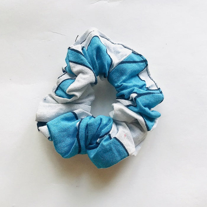 Kanga Fabric Hair Scrunch - Blue/White
