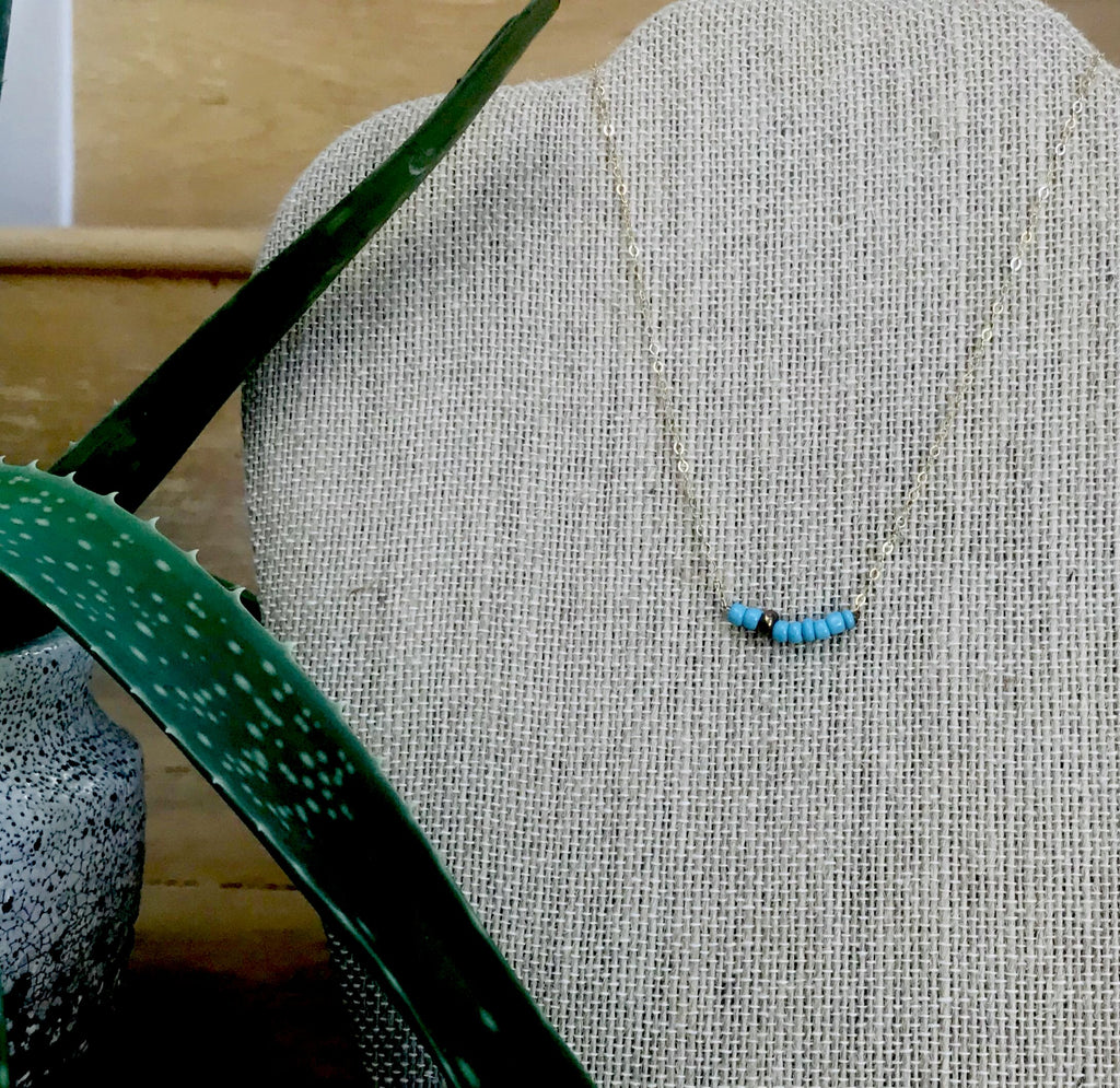 Turquoise Seed Bead 14K Gold-filled Chain Necklace