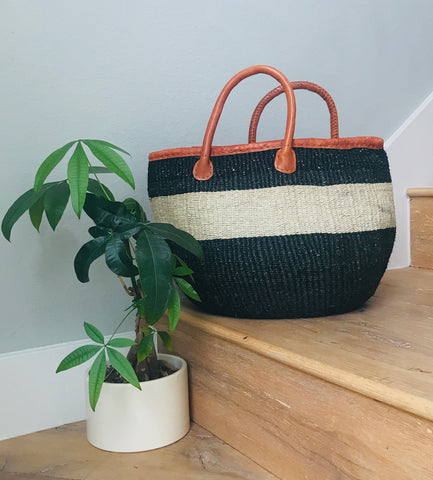 Black/Natural Iringa Basket Tote with Leather Handles