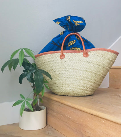 Woven Beach Tote with Blue Kanga Fabric Lining