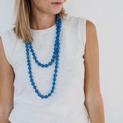 Extra Long Paper Bead Necklace - Bright Blue