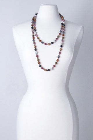 Extra Long Paper Bead Necklace - Earth Tones