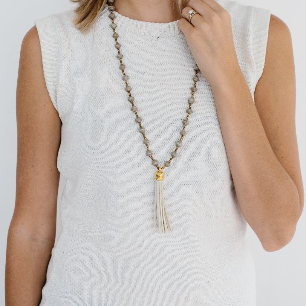 Paper Bead Tassel Necklace - Cream