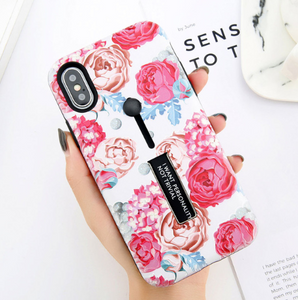 USLION For iPhone X Flower Phone Case For iPhone 7 8 6 6s Plus Rose Floral Marble Image Back Cover Hide Ring Stand Holder Cases