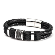Load image into Gallery viewer, Men's Layered Leather Woven Bracelet