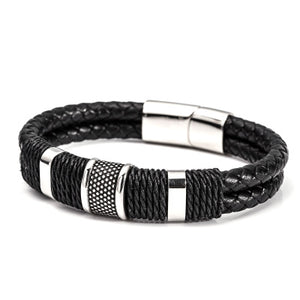 Men's Layered Leather Woven Bracelet