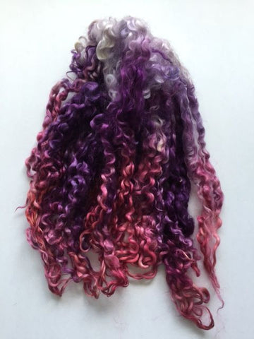 Chantily Lace - Hand Dyed long Teeswater locks for Doll Hair, Felting and Tail Spinning