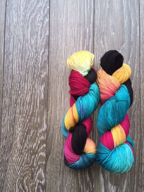 May The 4th Be With You - Hand Dyed Fingering - 80% Superwash Merino and 20% Nylon - 2 PLY
