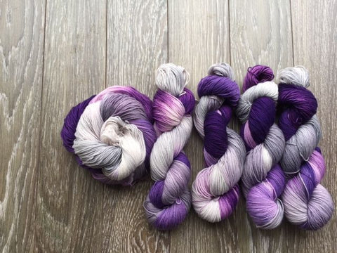 Garlic Scape - Hand Dyed Fingering - Superwash Merino and Nylon - 2 PLY in Dark Purple, Light Purple and Light Grey