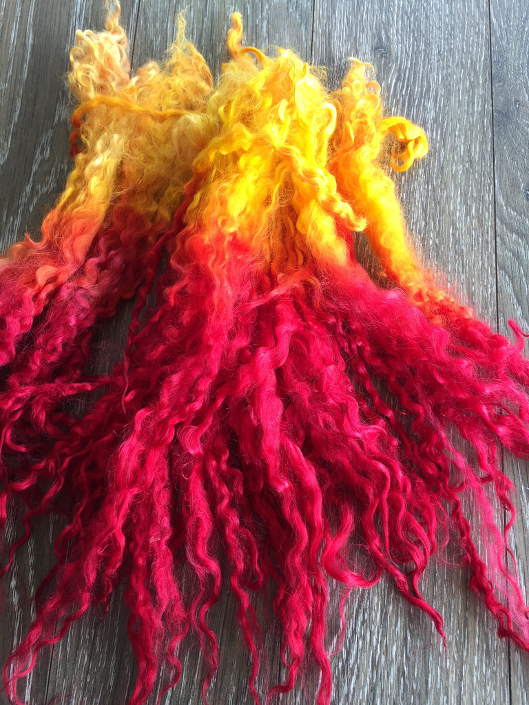 Tequila Sunrise - Hand Dyed long Teeswater locks for Doll Hair, Felting and Tail Spinning