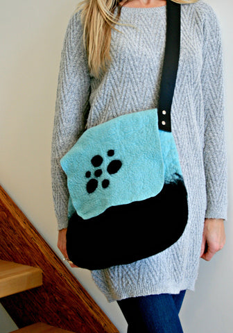 Mint and Black Felted Purse with Black Leather Strap and Pocket - Merino Wool
