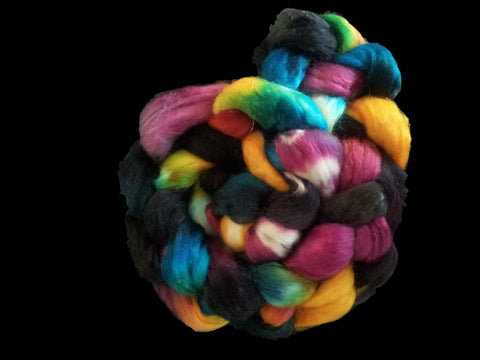 Nyx - Hand Dyed Wool Top and Mohair blend - 112gm (4oz)
