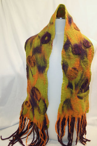 Orange, Purple and Chartreuse Felted Scarf with Merino Wool