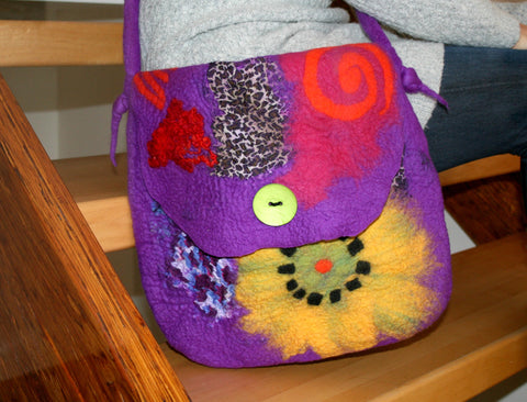 Purple Nuno Felted Purse with Felted Strap and Pocket - Merino Wool and Silk - SOLD