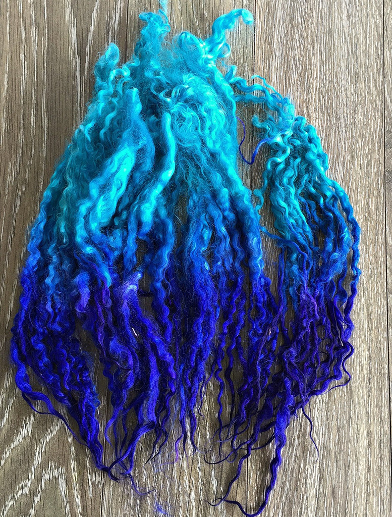 Tidal Wave - Hand Dyed long Teeswater locks for Doll Hair, Felting and Tail Spinning