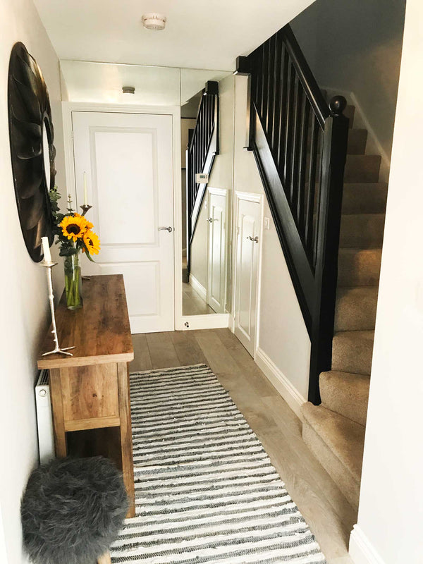 Hallway and stairs: check out this new build home in the UK - it's eclectic, glamorous and welcoming @my_home_impression