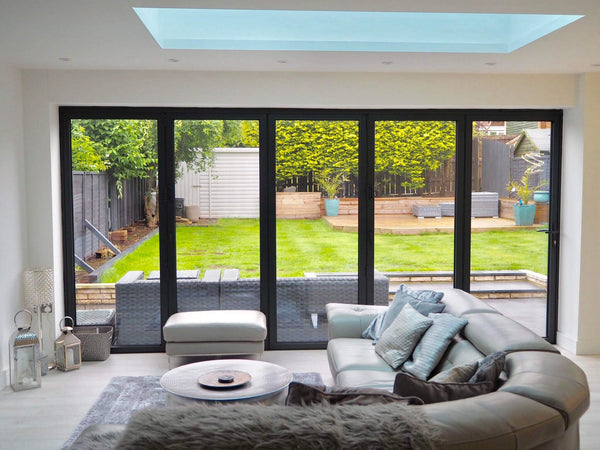 Check out this modern extension with bifolding doors - it's beautiful!