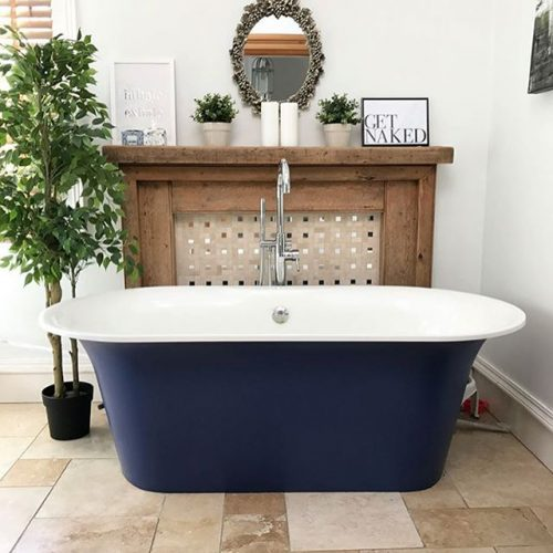A navy freestanding bath tub on www.lovetohome.co.uk - photo credit with permission from Claire via @houseofharwoodandrose on Instagram