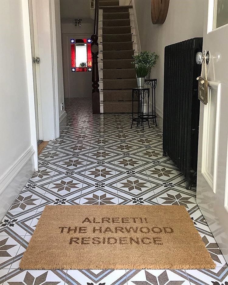Alreet doormat - hallway entry way with tiled floor on www.lovetohome.co.uk - photo credit with permission from Claire via @houseofharwoodandrose on Instagram