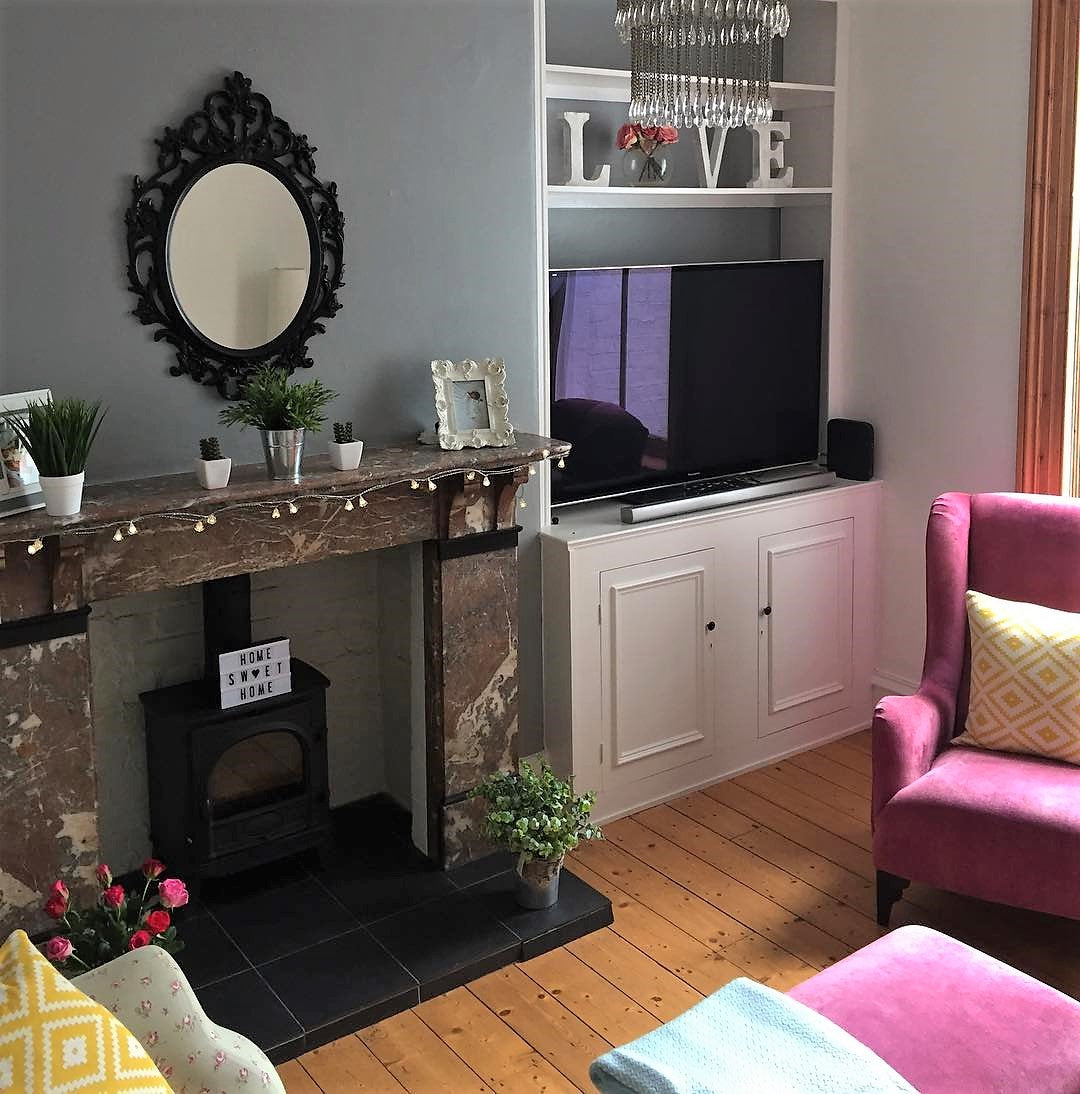 Victorian terrace living room in pink and grey on www.lovetohome.co.uk - photo credit with permission from Claire via @houseofharwoodandrose on Instagram
