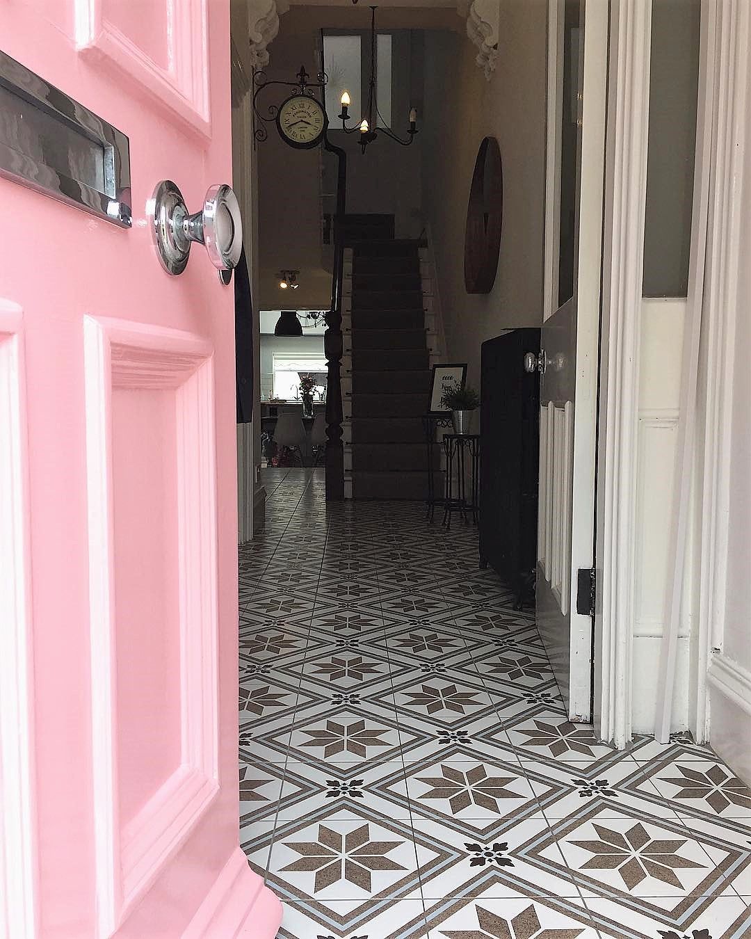 Victorian Terrace pink front door hallway entryway tiled floor on www.lovetohome.co.uk - photo credit with permission from Claire via @houseofharwoodandrose on Instagram