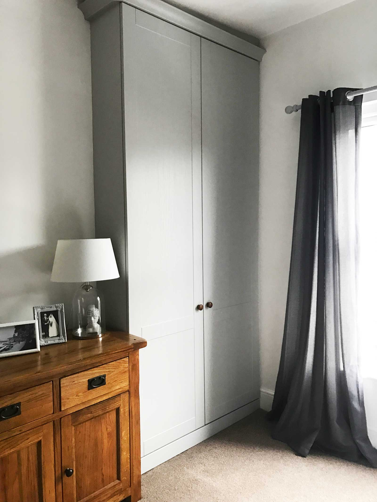 Main bedroom with custom fitted wardrobes: love the modern country look? Check out Kate's home tour on www.lovetohome.co.uk
