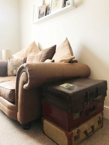 Love this modern country look with suitcase side tables? Check out Kate's home tour on www.lovetohome.co.uk